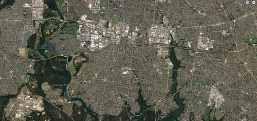 Satellite View of Revesby, Padstow, Panania and Condell Park