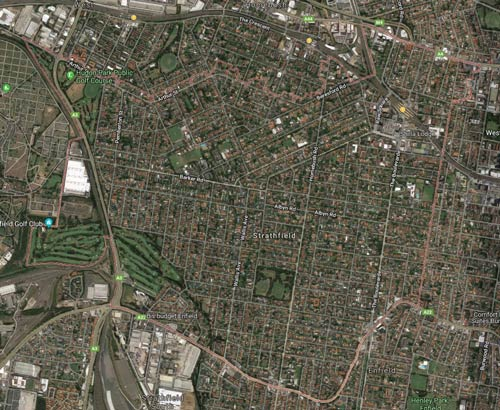 Satellite View of Strathfield